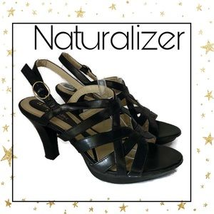 Naturalizer Black Strappy Heeled Sandals 7 .7M